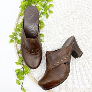 Dansko Leather Clogs Studs Brown Sz 41